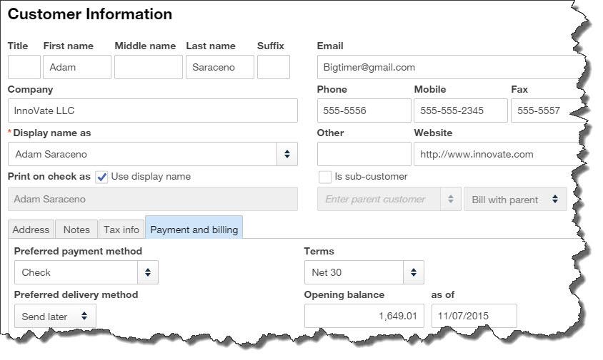 QuickBooks Online Customer Page Info