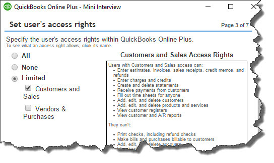 What limitations do you want to put on additional QuickBooks Online users?